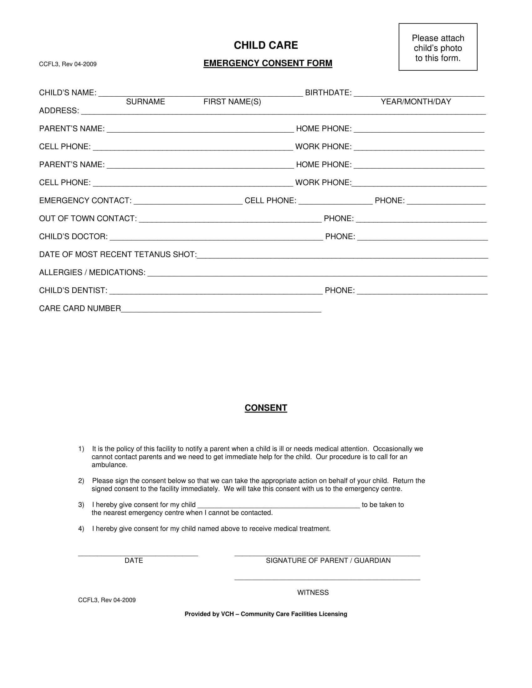 child care medical consent form 1