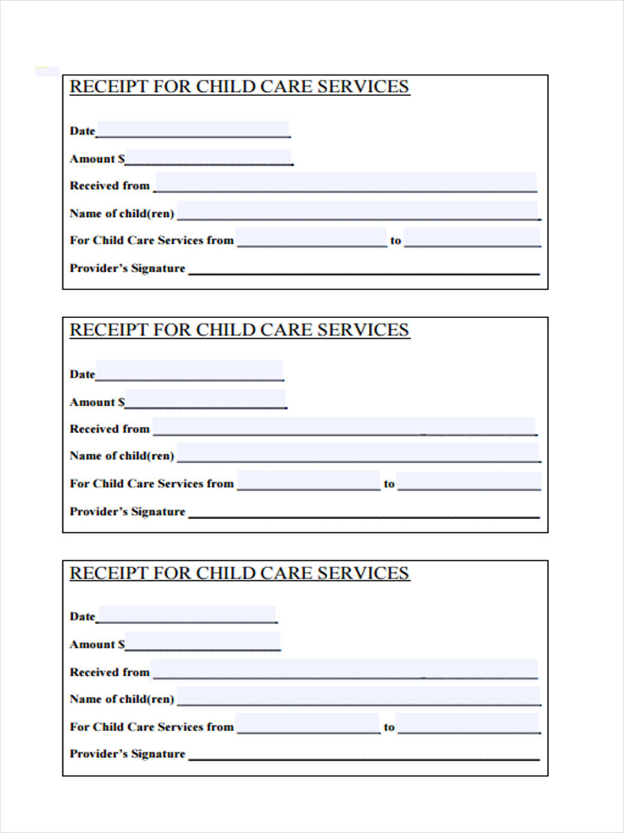 child care service receipt