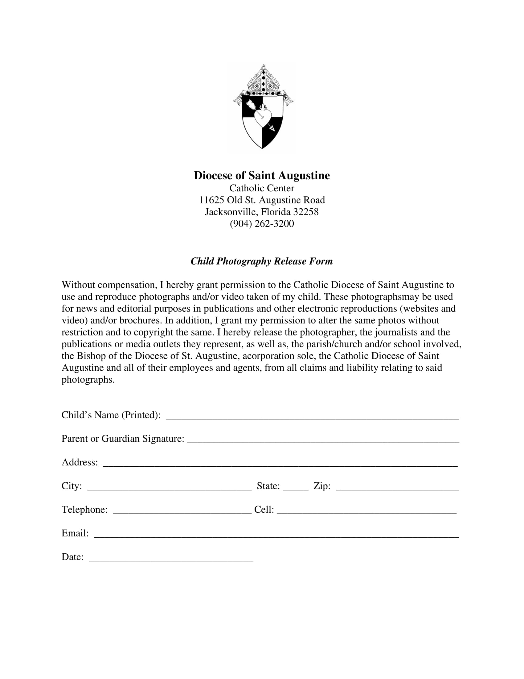 child photography release form 1