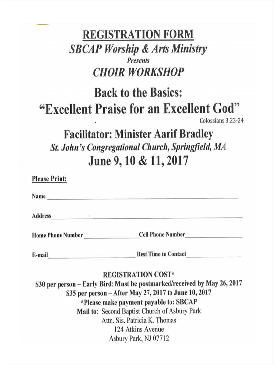 choir workshop registration