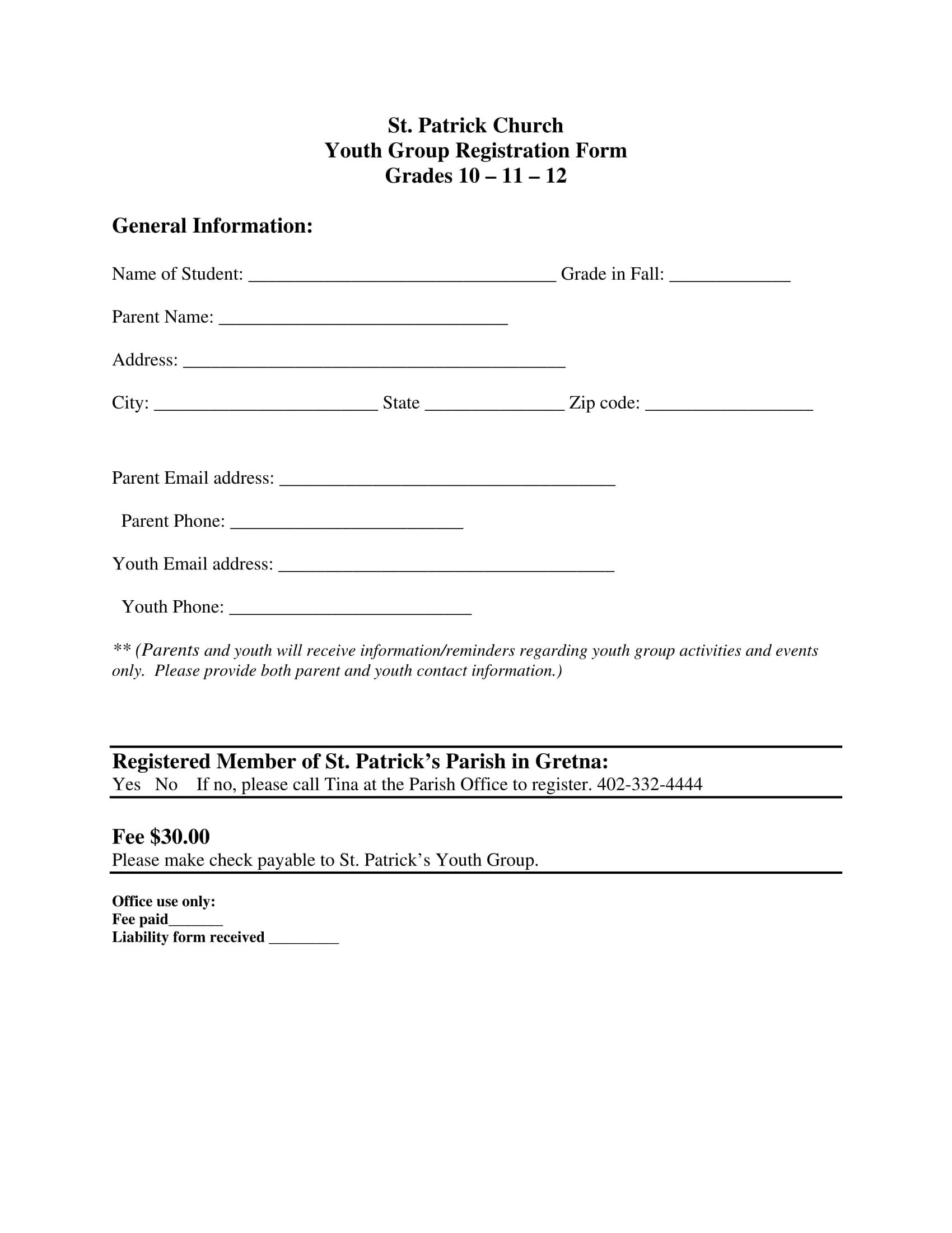 church registration form 1