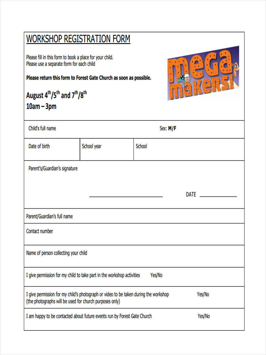 church workshop registration form
