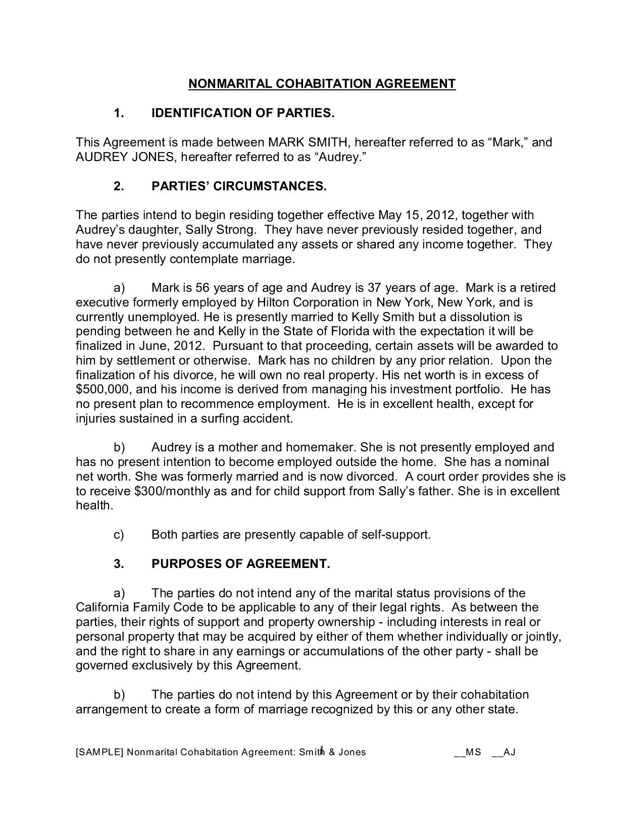 cohabitation agreement page 001