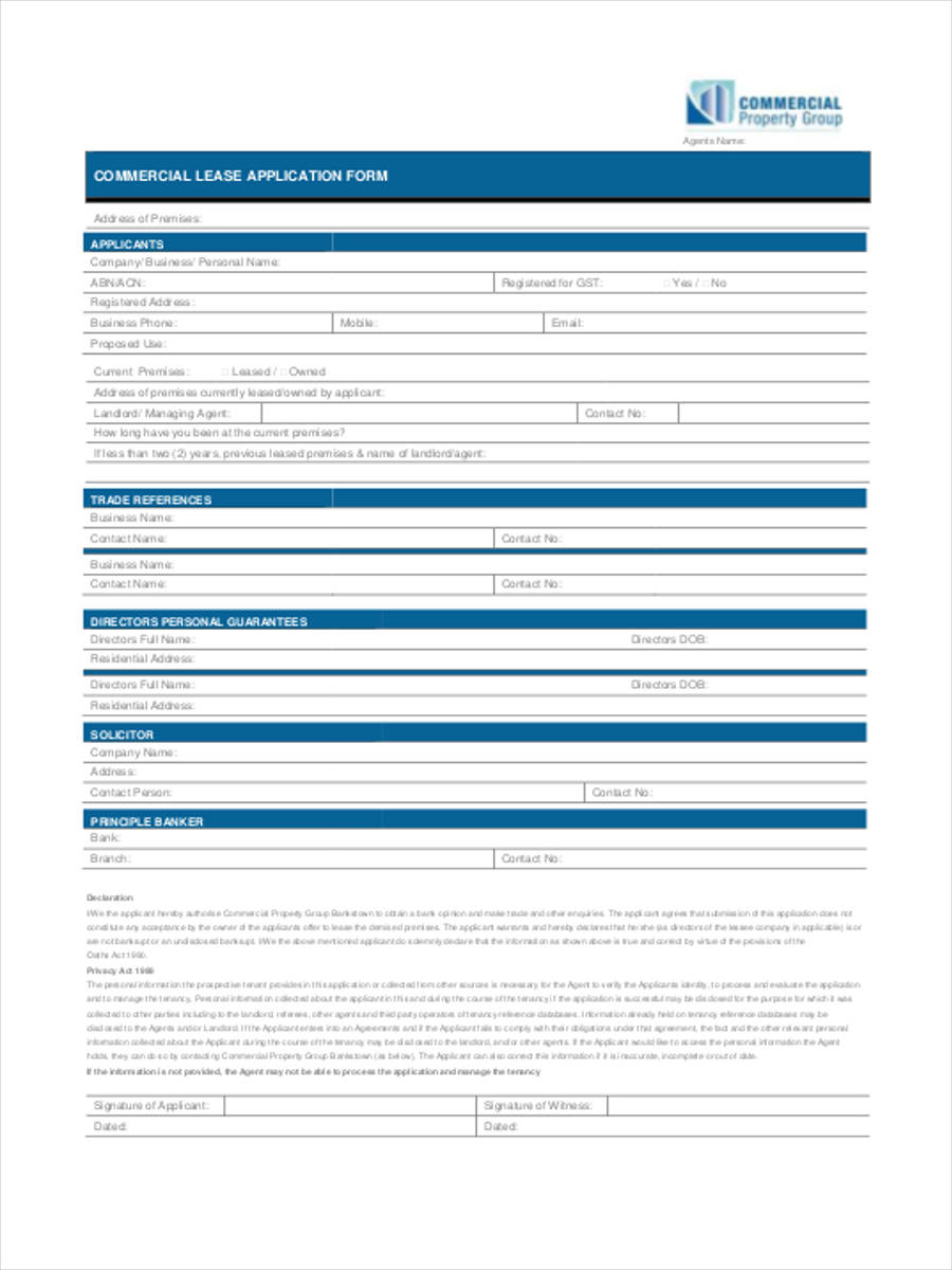 commercial lease application form