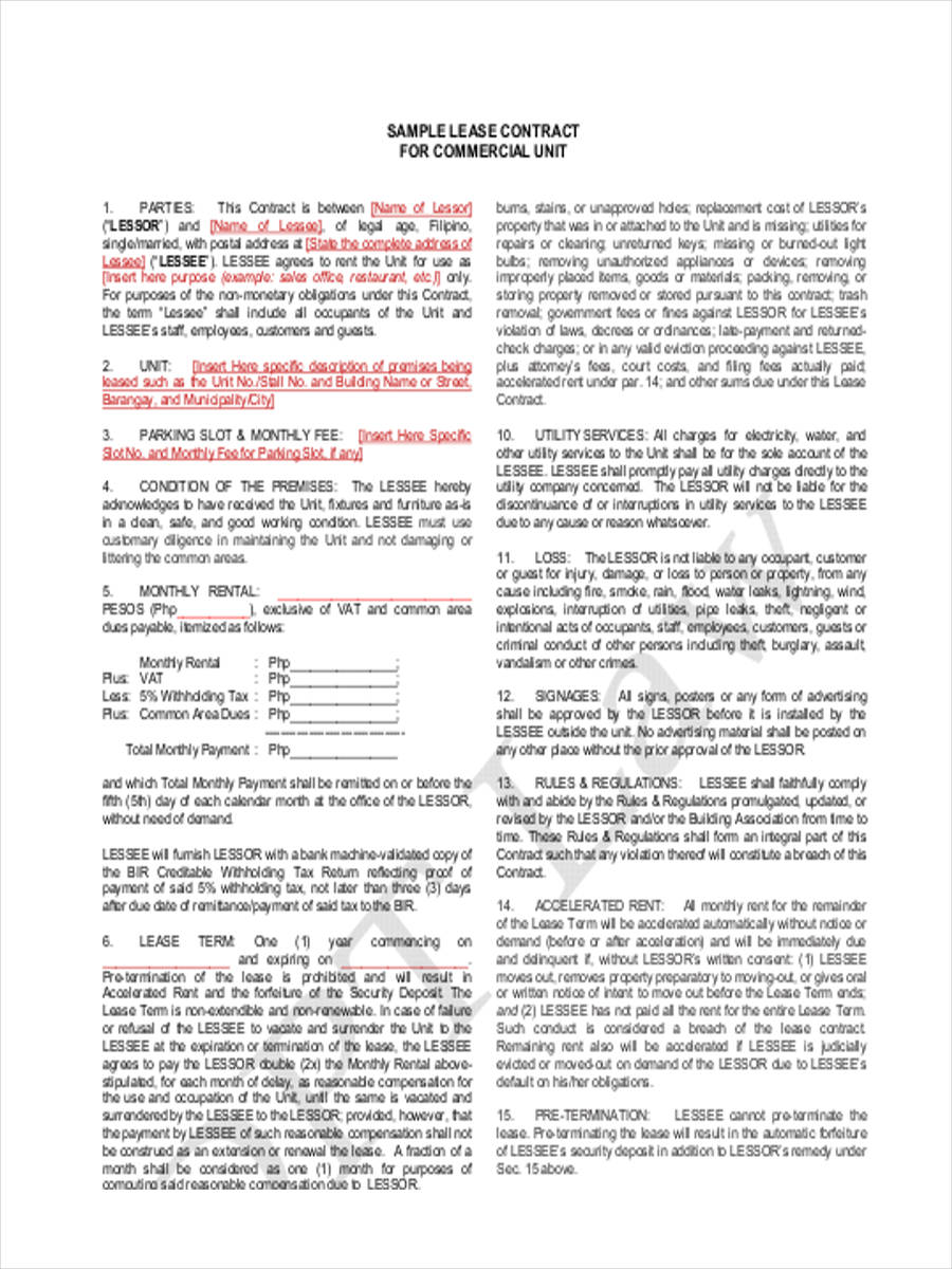 Commercial Lease Contract Form  Lease Contract Format