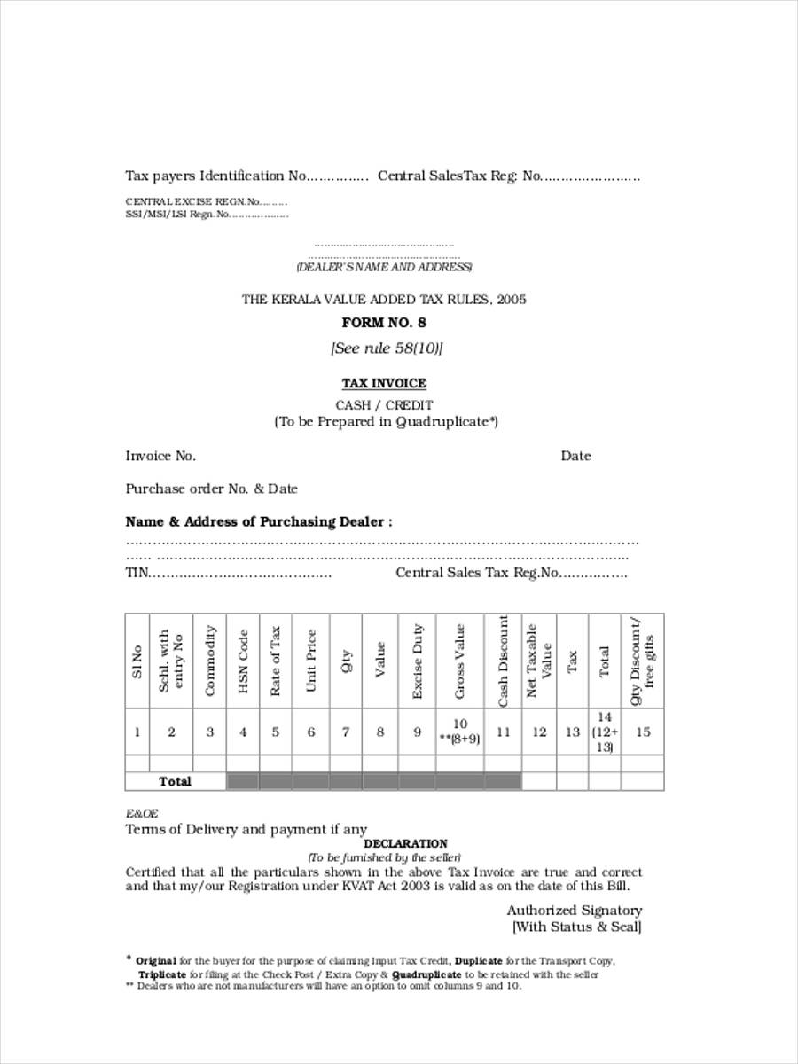 commercial tax invoice