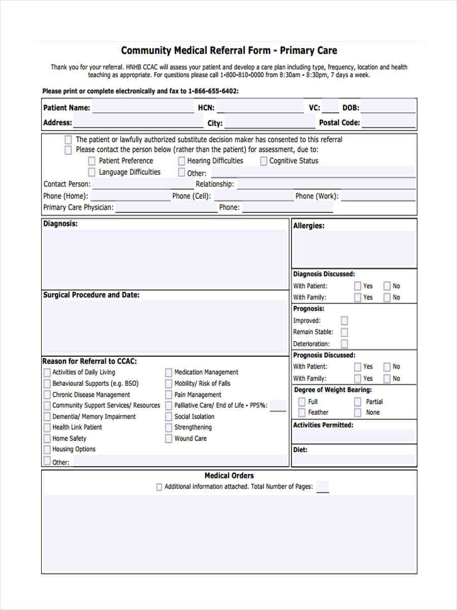 community medical referral form