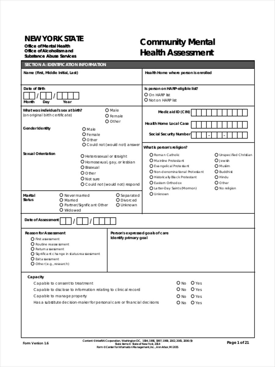 8 mental health assessment form samples free sample for Risk assessment template mental health