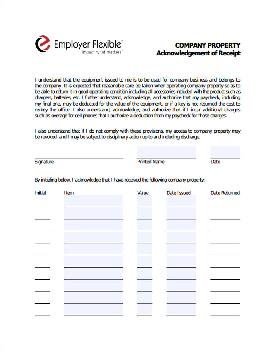 6  asset receipt forms