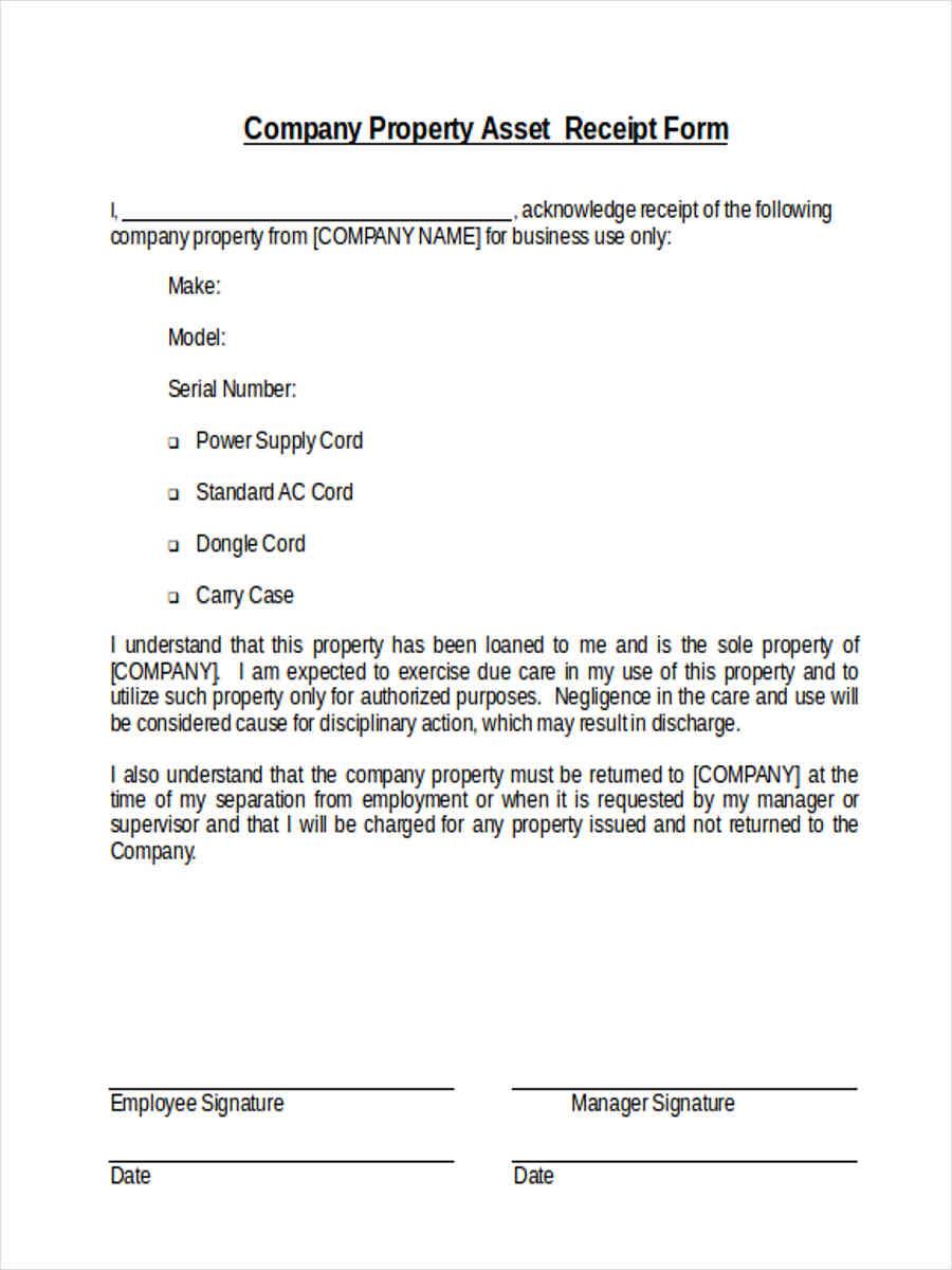 company property asset receipt