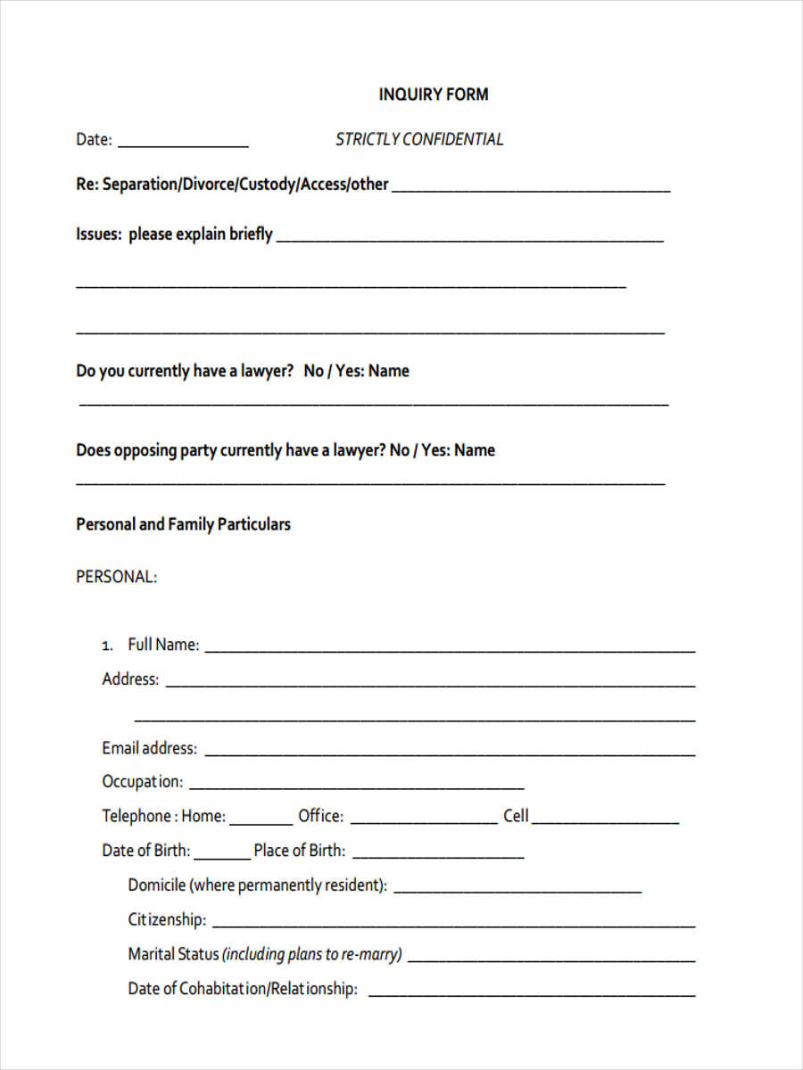 10 Credit Inquiry Form Samples Free Sample Example