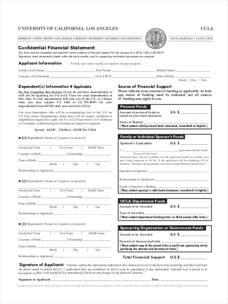 confidential financial statement form