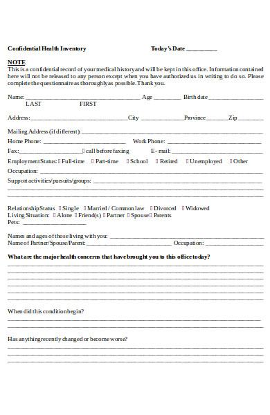 confidential health inventory form