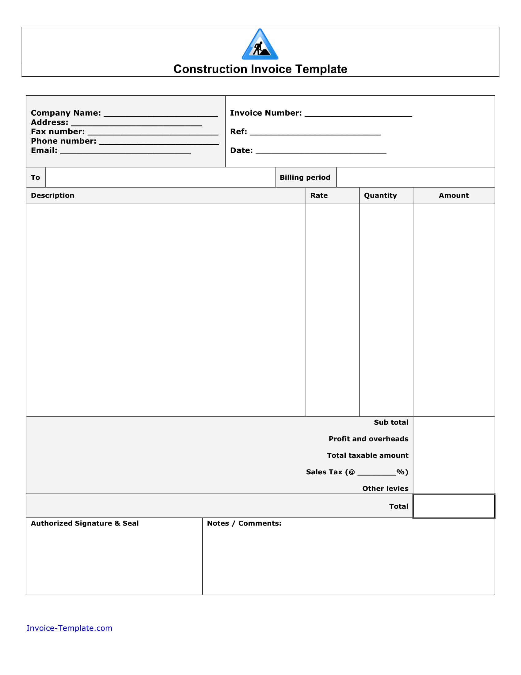 construction invoice form 1