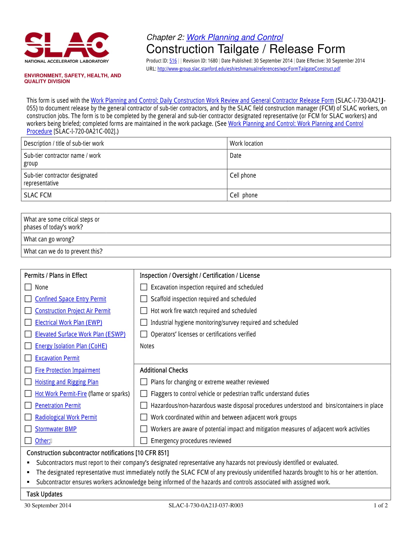 Construction Release Form Sample