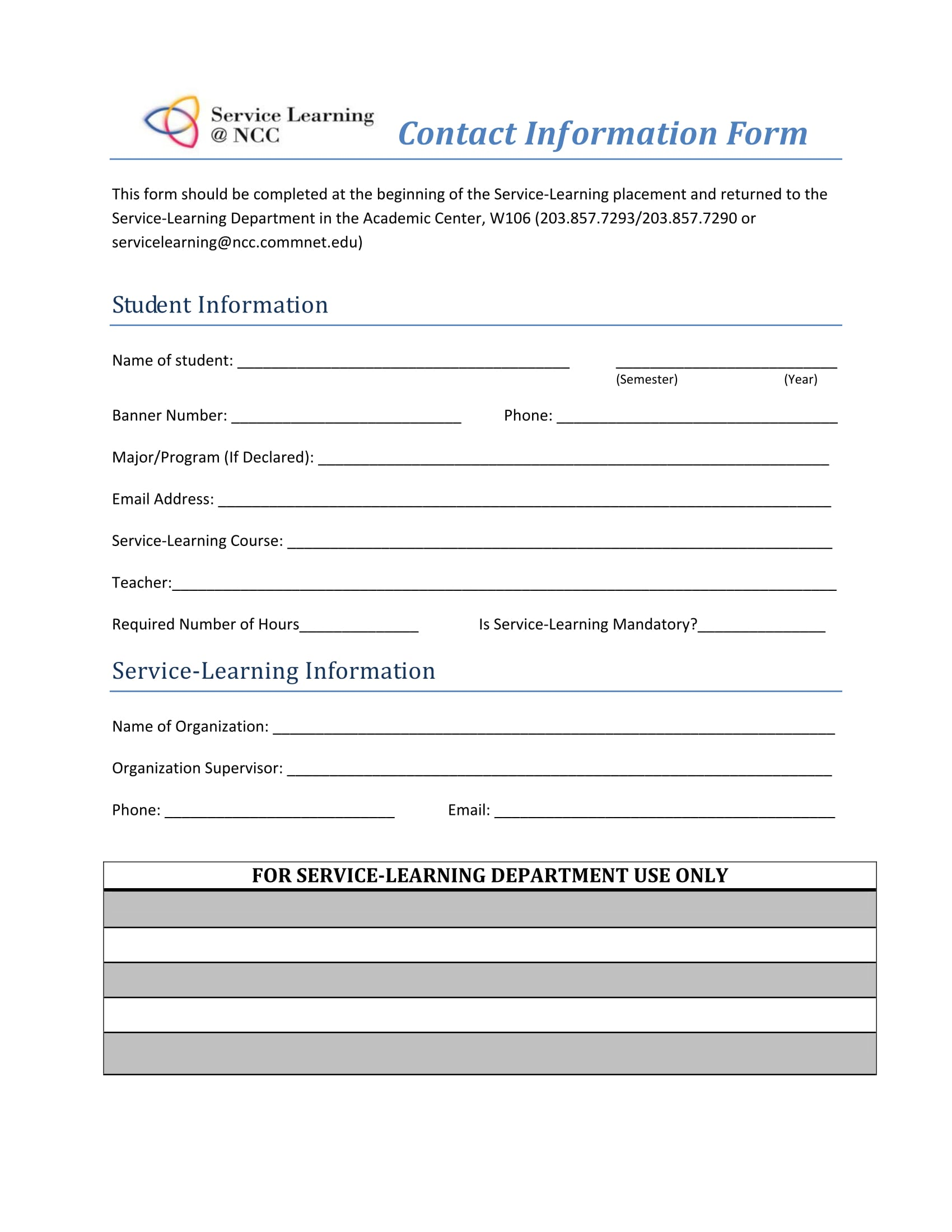 contact information form 1
