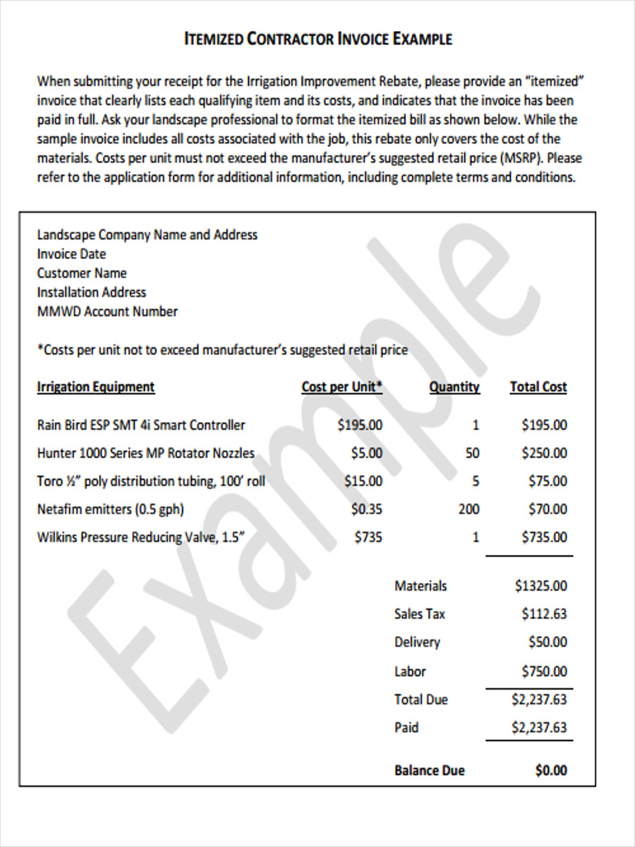 5 Contractor Receipt Forms Free Sample Example Format Download – Receipt Example