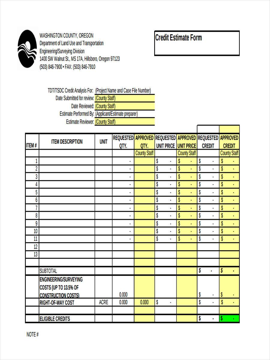 credit estimate form