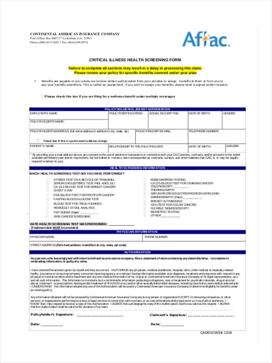 critical illness health screening