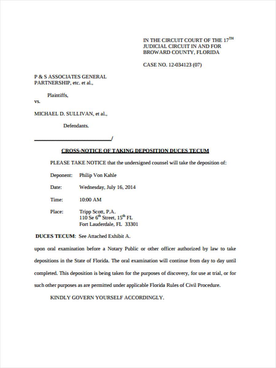 cross notice of deposition