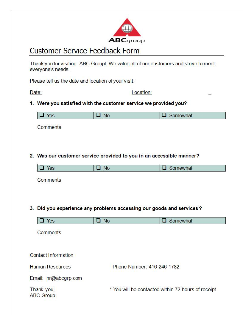 What to Include In Customer Feedback Forms – Customer Contact Form Template
