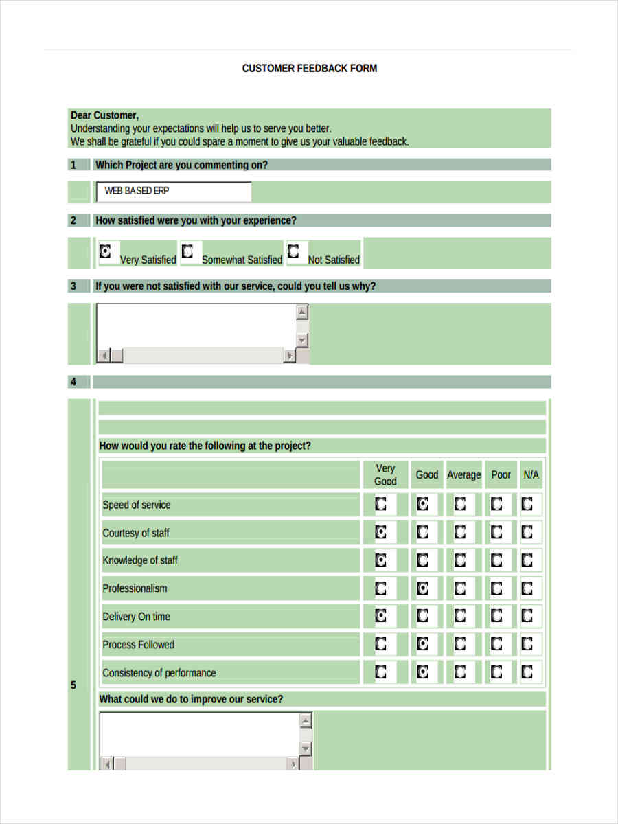9+ Project Feedback Form Templates