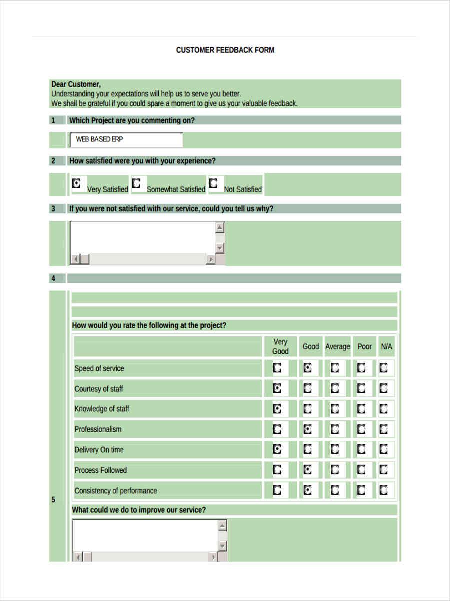 customer project feedback