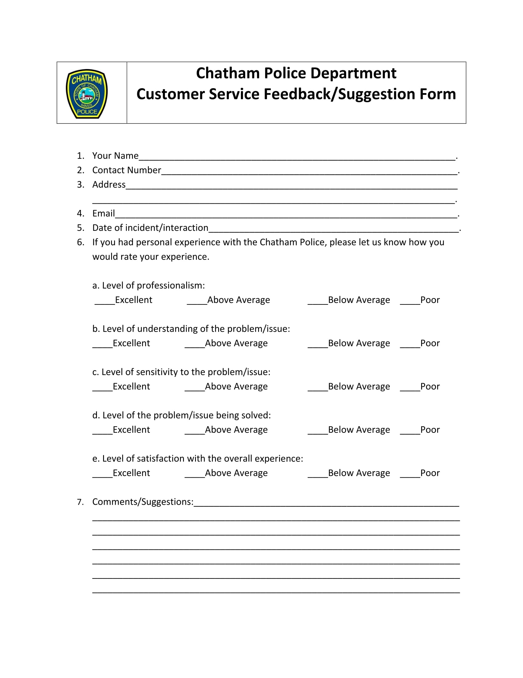 customer service feedback form 1