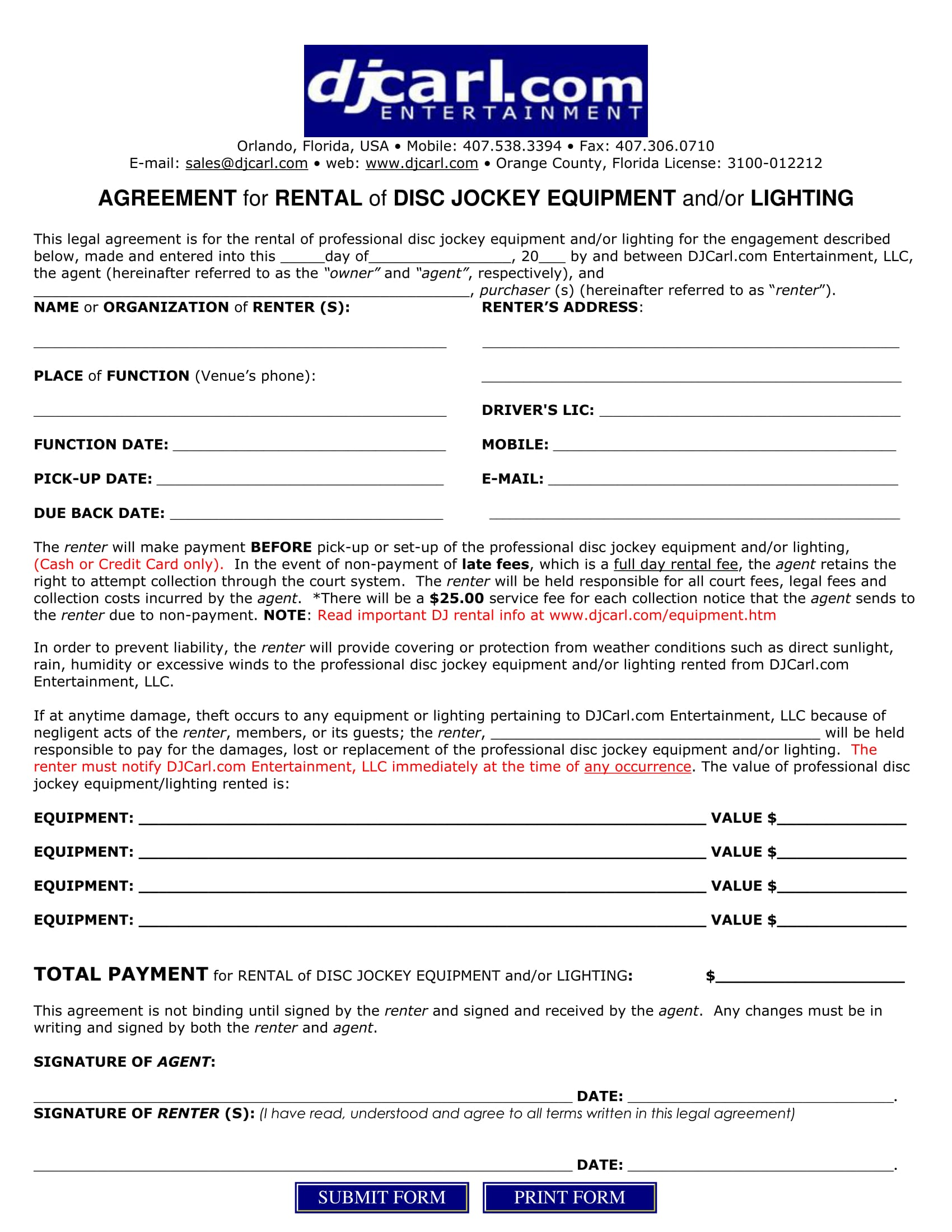 DJ Equipment Rental Contract Form