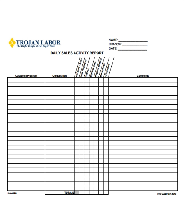 Sample Sales Report Forms