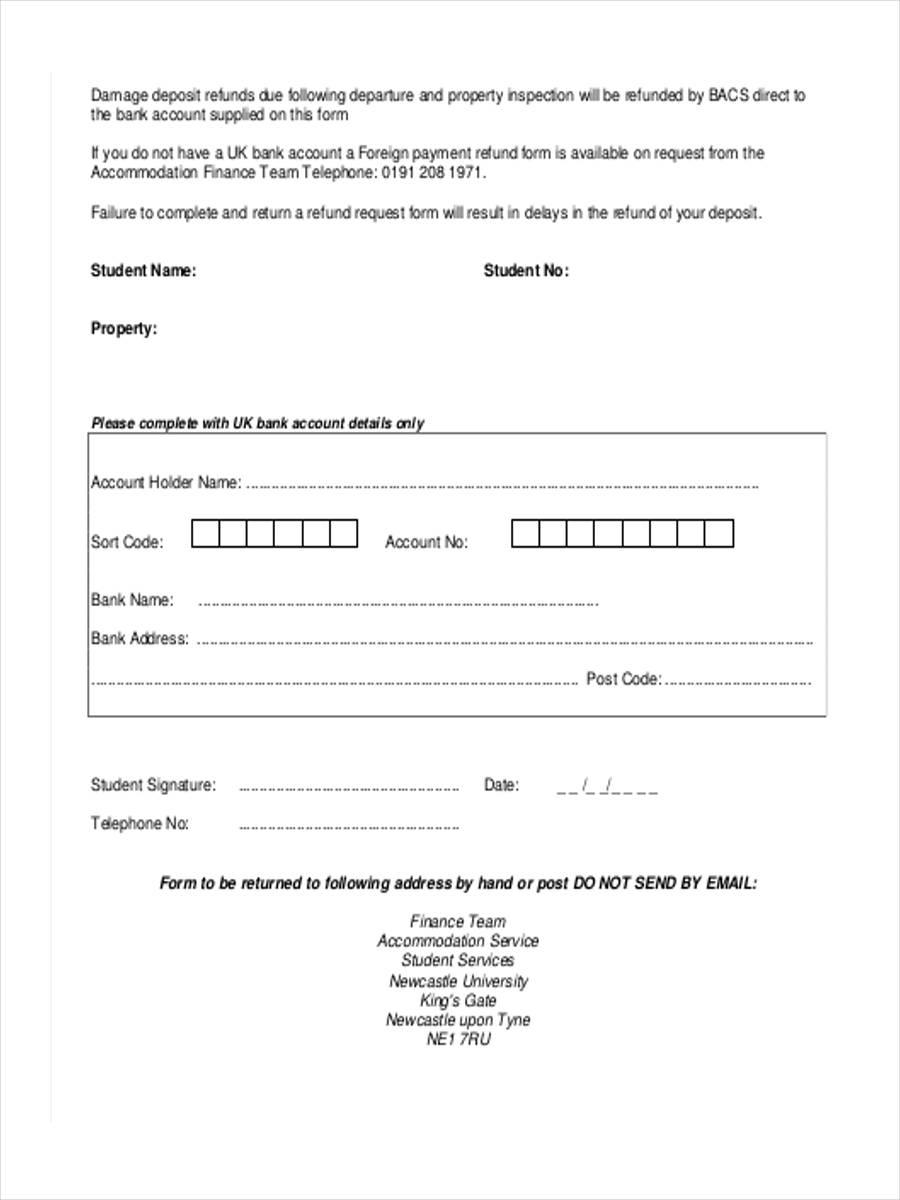damage deposit refund form