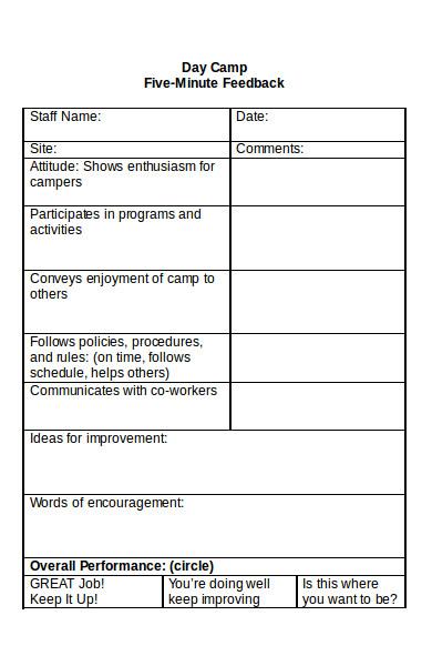 day camp feedback form