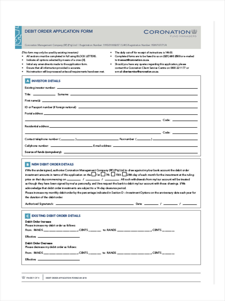 free 8  debit order forms in samples  examples  formats