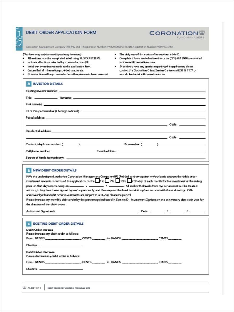 debit order application