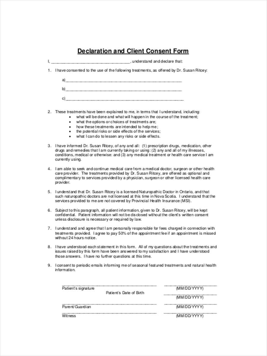 declaration client consent