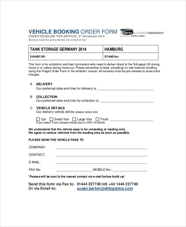 delivery booking order form