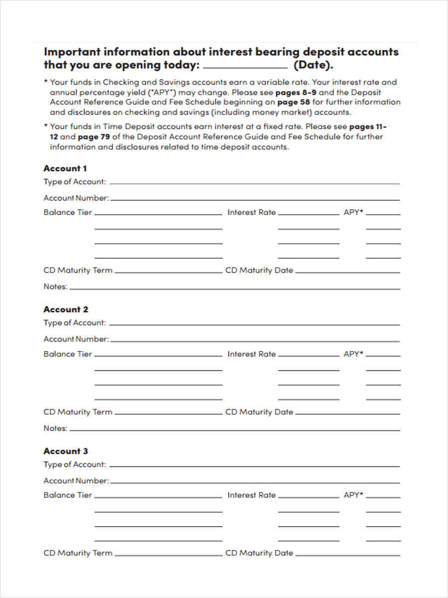 deposit account agreement disclosures