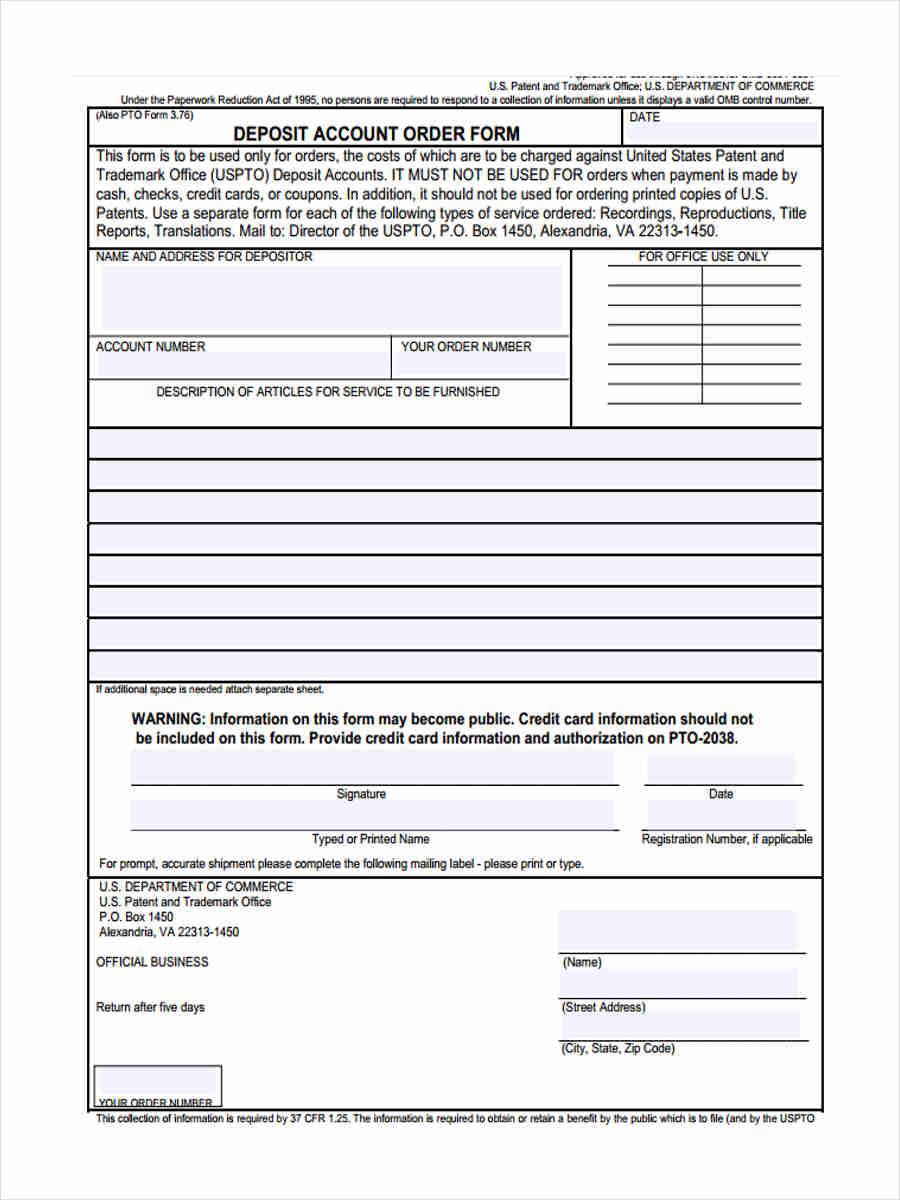 deposit account order1