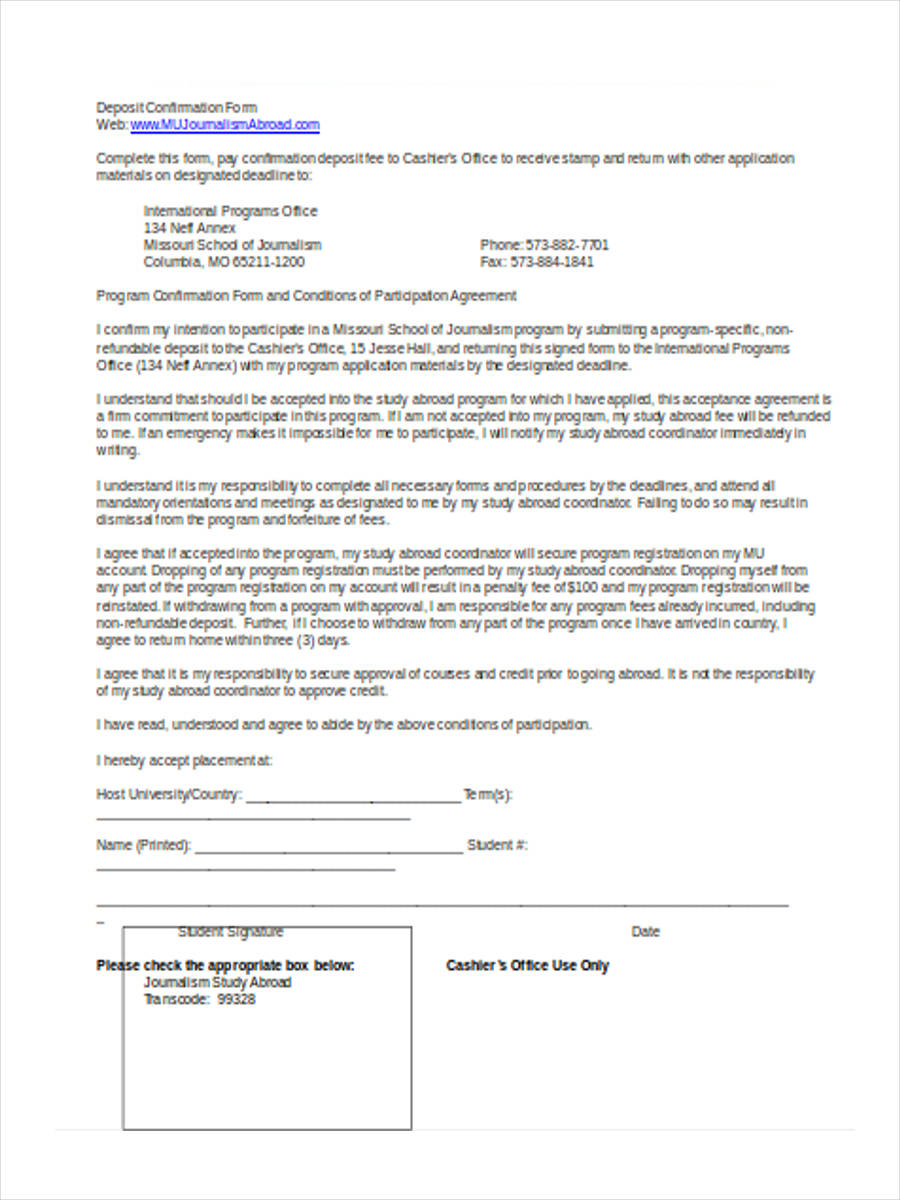 deposit confirmation