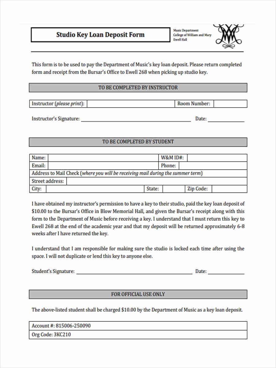 deposit loan form