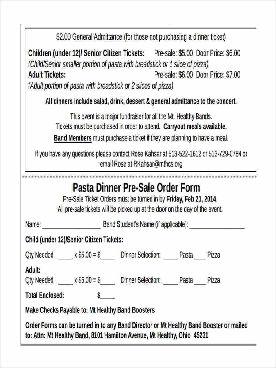 dinner pre sale order form