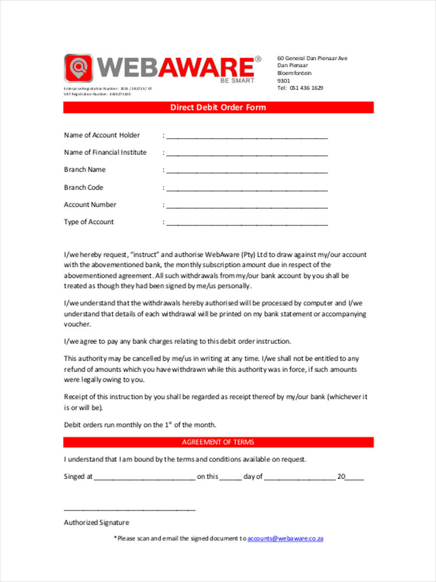 9 Debit Order Form Samples Free Sample Example Format Download – Direct Debit Form