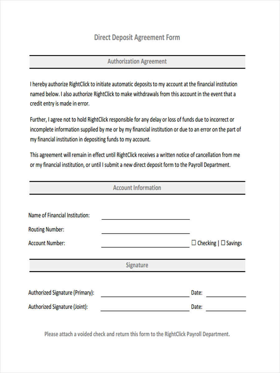 direct deposit agreement1