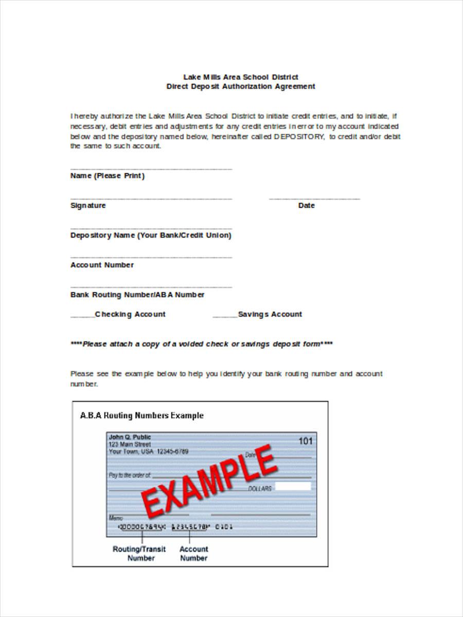 direct deposit authorization agreement