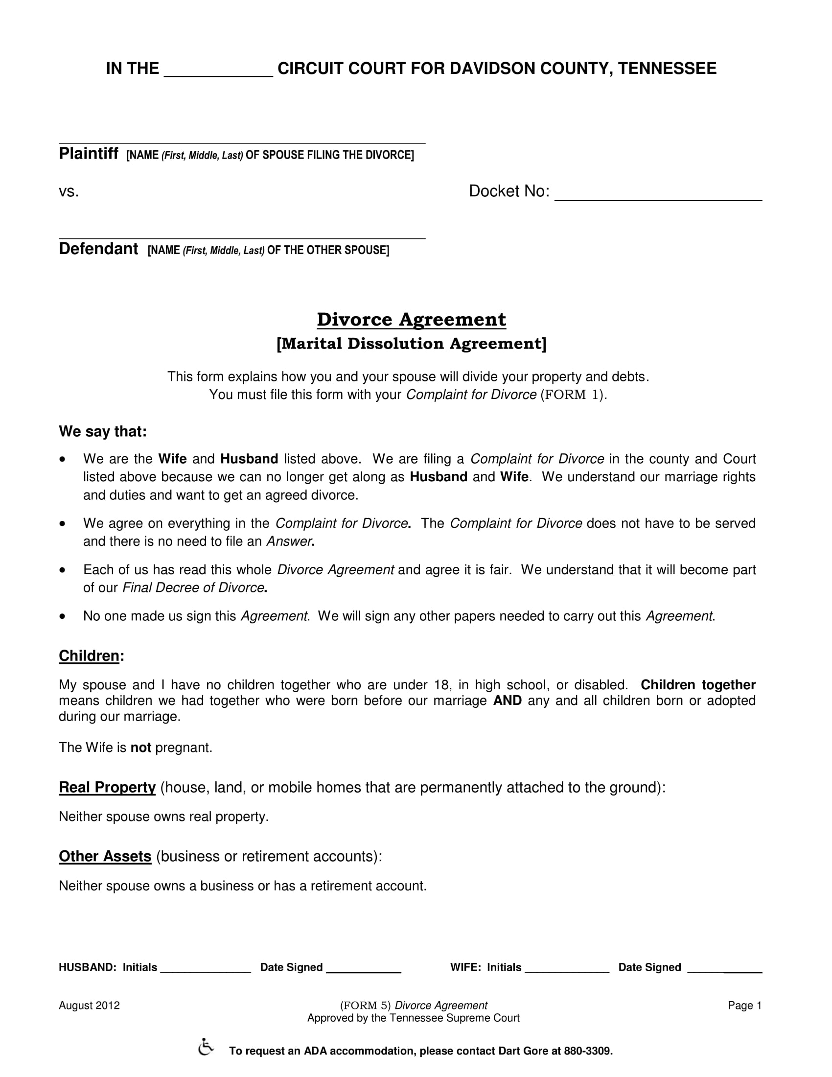 divorce agreement form 1
