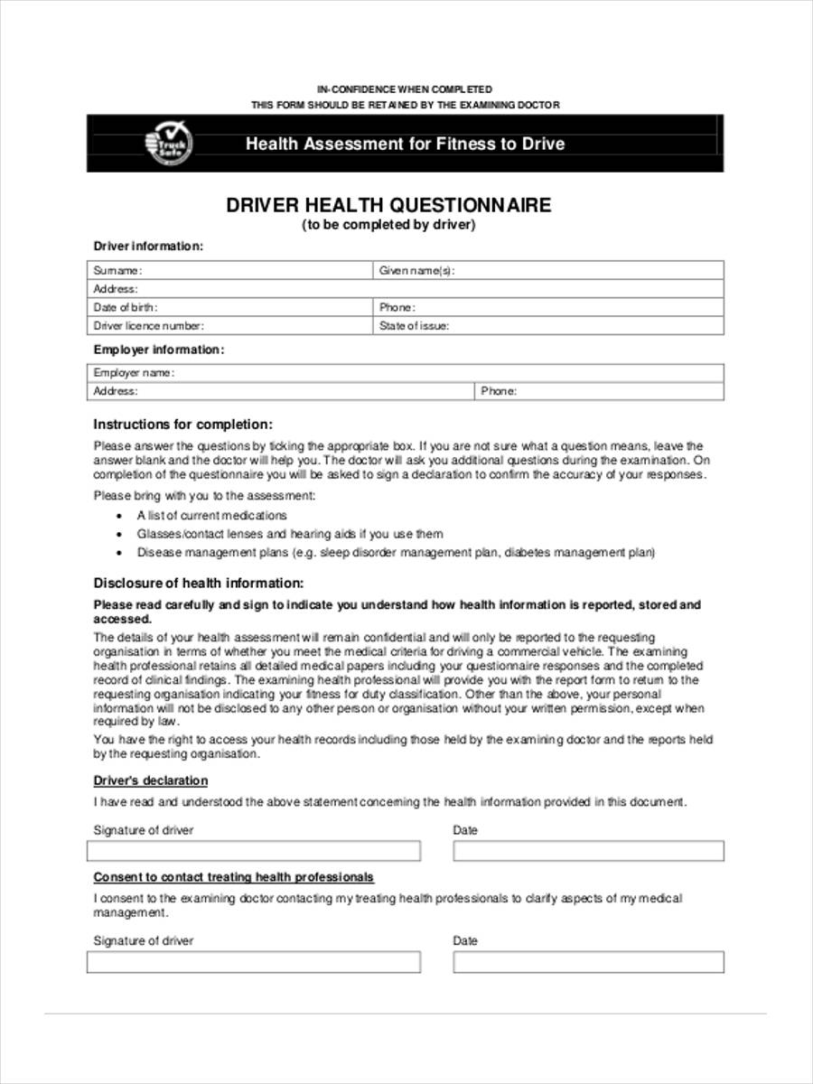 driver health questionnaire form
