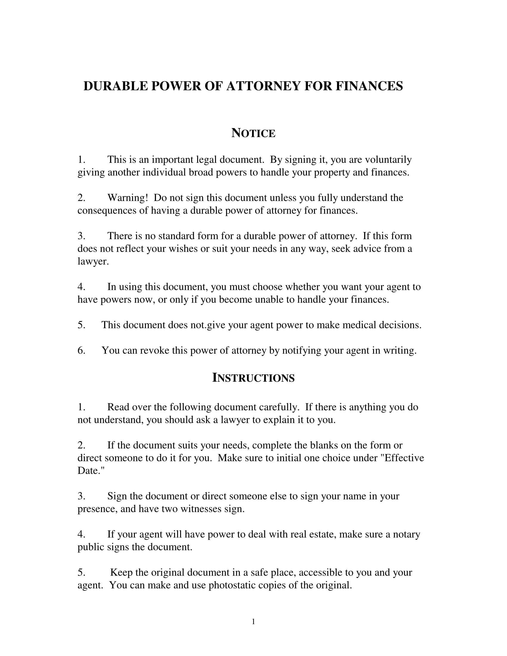 durable financial power of attorney form 1