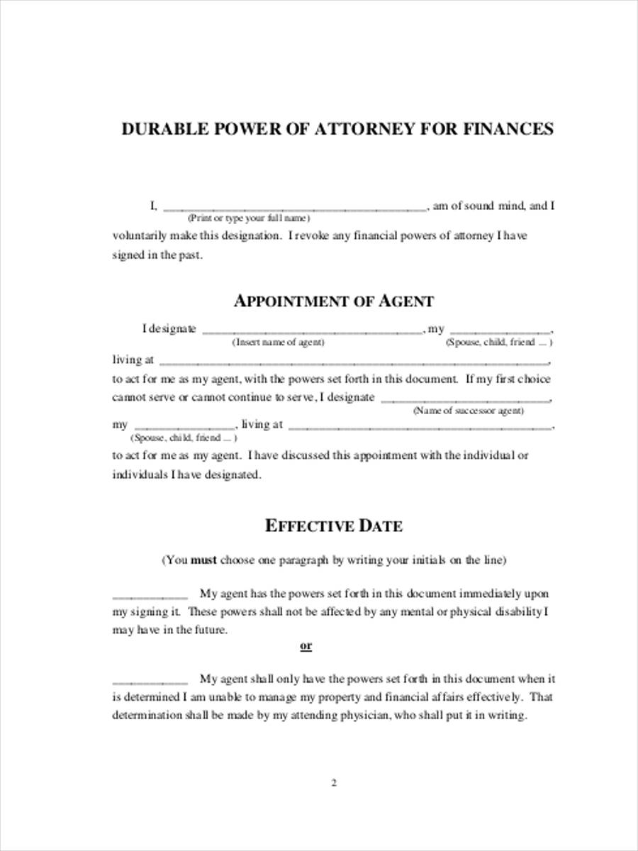 durable financial power of attorney
