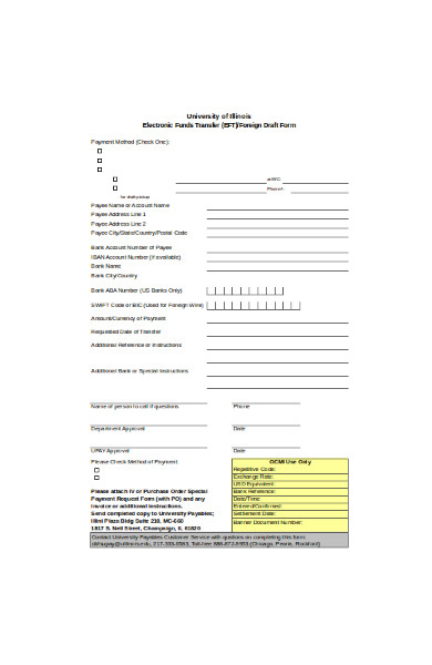 electronic fund transfer form