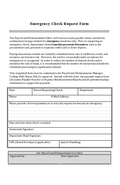 emergency check request form